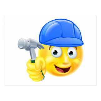 Handy Man Carpenter Builder Emoji Emoticon Postcard