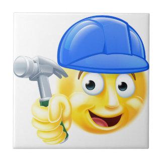 Handy Man Carpenter Builder Emoji Emoticon Small Square Tile
