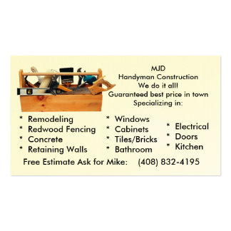 Handy Man Construction Pack Of Standard Business Cards