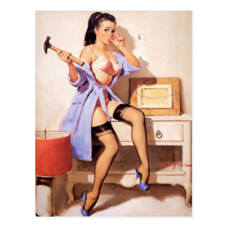 Handy Man Pin-Up Postcard