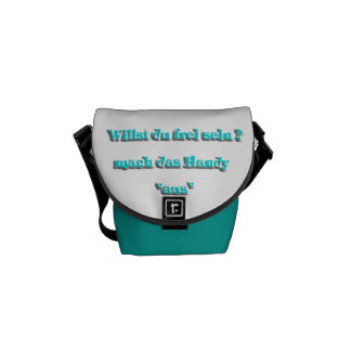 handy out, turquoise courier bag