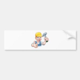 Handyman Carpenter Cartoon Character Holding Hamme Bumper Sticker