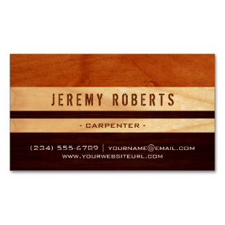 Handyman Carpenter Remodeling Stylish Wood Stripes Magnetic Business Card