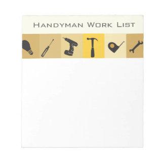 Handyman Construction Buildern Honey Do List Notepads