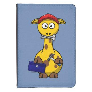Handyman Giraffe Blue Background Kindle 4 Case