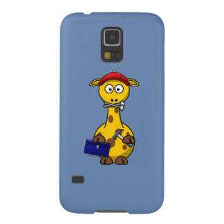 Handyman Giraffe Blue Background Galaxy S5 Cases