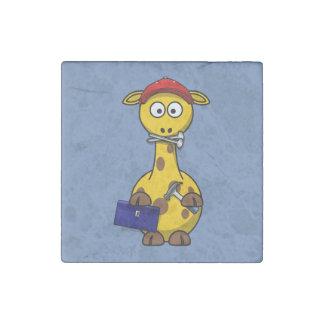 Handyman Giraffe Blue Background Stone Magnet