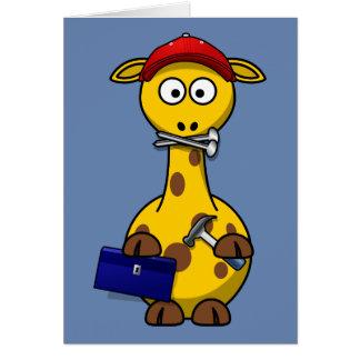 Handyman Giraffe Blue Background Greeting Card