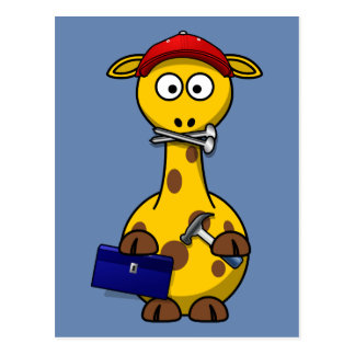 Handyman Giraffe Blue Background Postcard