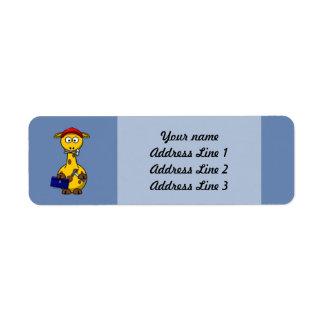 Handyman Giraffe Blue Background Return Address Label