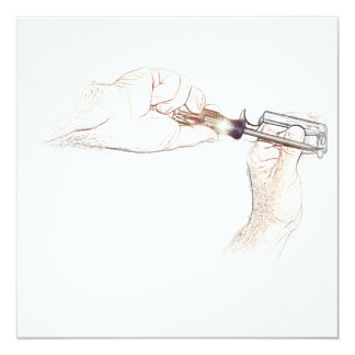 Handyman Hands with Screwdriver (Mr. Fix-it) 13 Cm X 13 Cm Square Invitation Card
