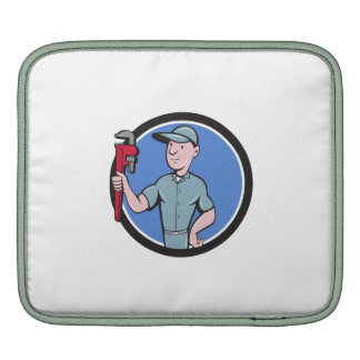 Handyman Monkey Wrench Circle Cartoon Sleeve For iPads