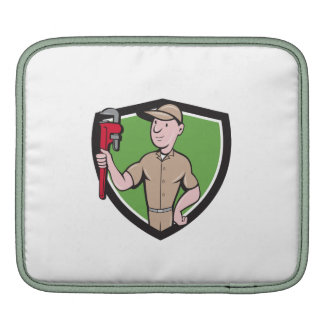 Handyman Monkey Wrench Crest Cartoon iPad Sleeves