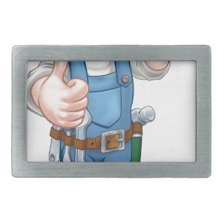 Handyman Painter Decorator Holding Paintbrush Rectangular Belt Buckles