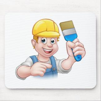 Handyman Painter Decorator With Paintbrush Mouse Pad