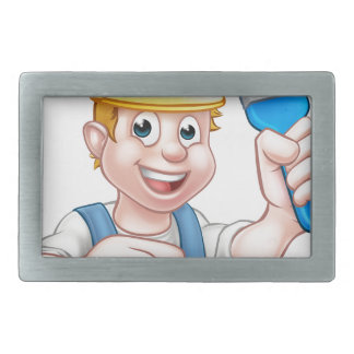 Handyman Painter Decorator With Paintbrush Rectangular Belt Buckles