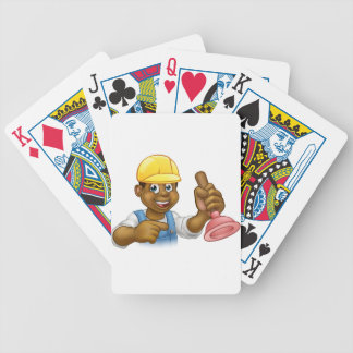 Handyman Plumber Holding Punger Cartoon Character Bicycle Playing Cards
