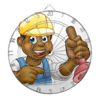 Handyman Plumber Holding Punger Cartoon Character Dartboard