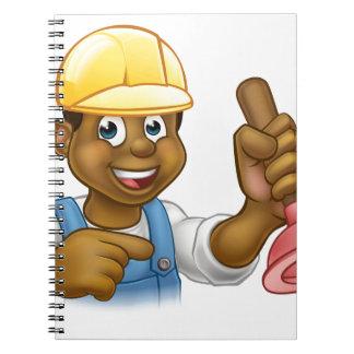 Handyman Plumber Holding Punger Cartoon Character Notebooks