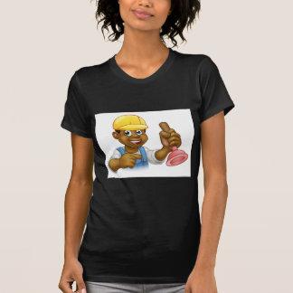 Handyman Plumber Holding Punger Cartoon Character T-Shirt
