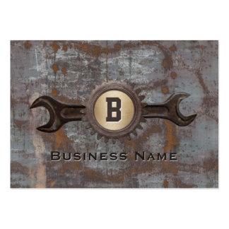 Handyman Repair Gear Monogram Vintage Rusty Metal Pack Of Chubby Business Cards