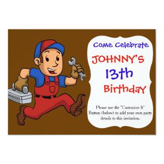 handyman Running With A Toolbox 13 Cm X 18 Cm Invitation Card