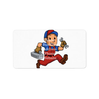 handyman Running With A Toolbox Address Label