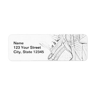 Handyman Sketch in Black and White Business Return Address Label