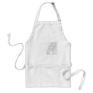 Handyman Sketch in Black and White Business Standard Apron