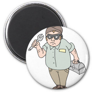 Handyman thief mechanic 6 cm round magnet