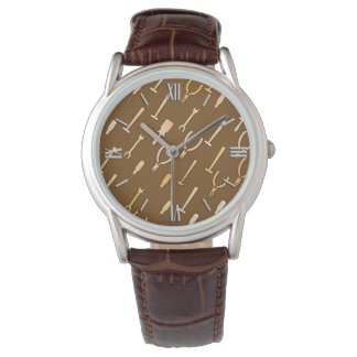 Handyman tools, on chocolate brown watch