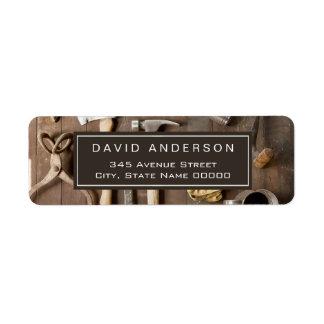 Handyman Woodworker Vintage Rustic Tools Carpenter Return Address Label