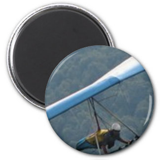 Hang Glding Over a Forest 6 Cm Round Magnet