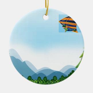 Hang gliding ceramic ornament