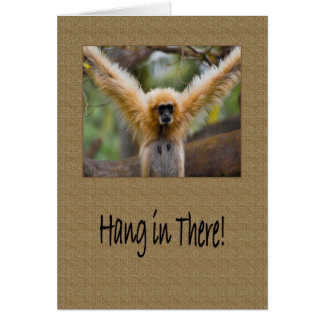 Hang in There Gibbon Monkey with Arms Spread Card