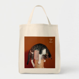 Hang in There Humorous Tabby Cat Tote