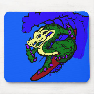 Hang Loose Surfing Dragon Mouse Pad