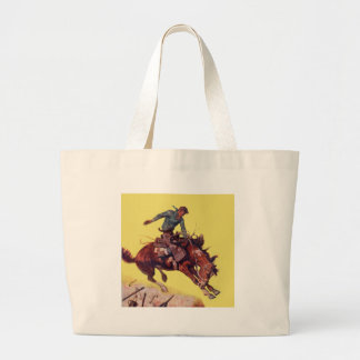 Hang On Cowboy Large Tote Bag