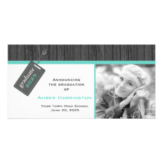 Hang Tag Grad, Gray and Aqua Picture Card