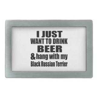Hang With My Black Russian Terrier Rectangular Belt Buckle