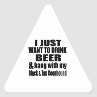 Hang With My Black & Tan Coonhound Triangle Sticker