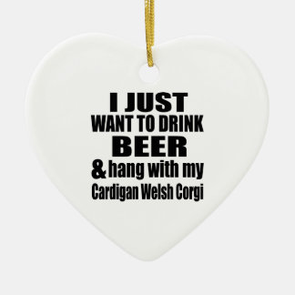 Hang With My Cardigan Welsh Corgi Ceramic Heart Decoration
