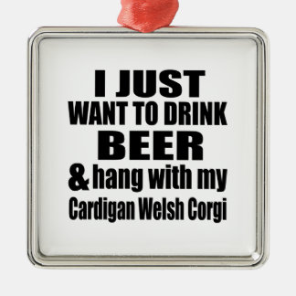 Hang With My Cardigan Welsh Corgi Silver-Colored Square Decoration