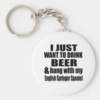 Hang With My English Springer Spaniel Basic Round Button Key Ring