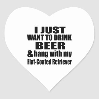 Hang With My Flat-Coated Retriever Heart Sticker
