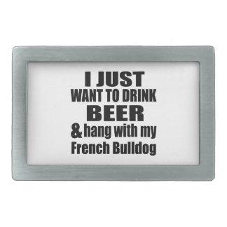 Hang With My French Bulldog Rectangular Belt Buckles