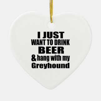 Hang With My Greyhound Ceramic Heart Decoration