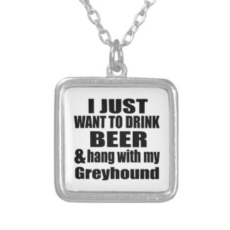 Hang With My Greyhound Silver Plated Necklace