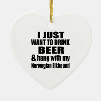 Hang With My Norwegian Elkhound Ceramic Heart Decoration