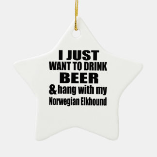 Hang With My Norwegian Elkhound Ceramic Star Decoration